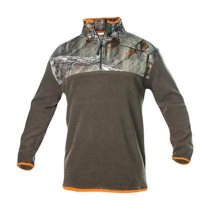 Realtree Men's Quarter Zip Microfleece Pullover, Olive Green, XXL
