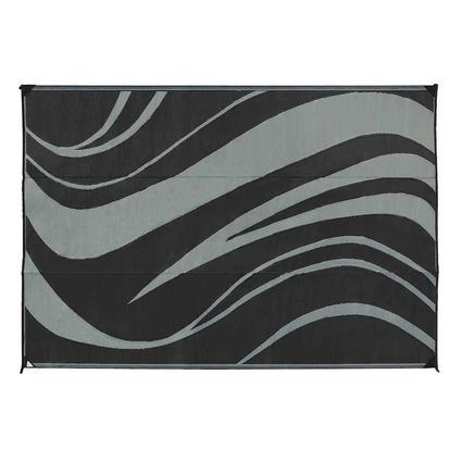 Reversible Wave Design Patio Mat, 6 x 9, Black/Gray