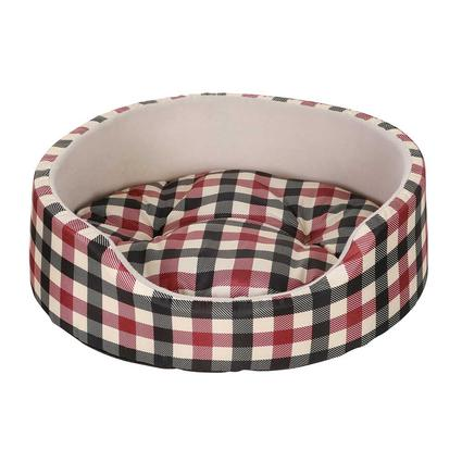 Plush Cat Bed, Red Plaid