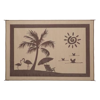 Reversible Paradise Patio Mat, Brown/Beige, 8 x 11