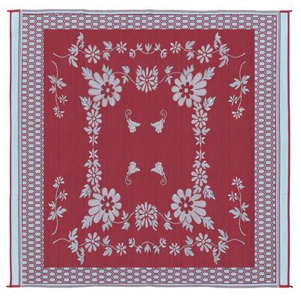 Patio Mat, Polypropylene, Floral Design, 9 x 12, Burgundy/White