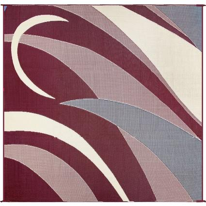 Patio Mat, Polypropylene, Graphic Design, 8 x 16, Burgundy/Black