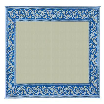 Patio Mat, Polypropylene, Classical Design, 9' x 12, Blue/Beige