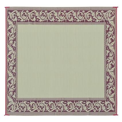 Reversible Classical Design Patio Mat, Burgundy/Beige, 9 x 12