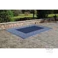 Patio Mat, Polypropylene, Greek Motif Design, 9'x12', Navy/Light Blue